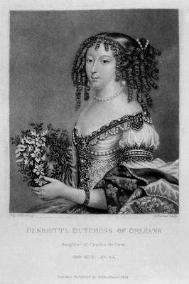 Portrait of Henrietta Anne, Duchess of Orleans, from 'Characters Illustrious in British History', by Richard Earlom and Charles Turner, 1815