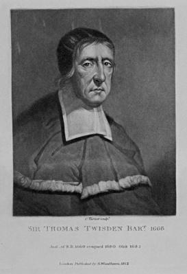 Portrait of Sir Thomas Twisden, from 'Characters Illustrious in British History', 1815