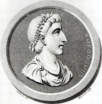 Portrait of Theodosius, from 'The History of the Decline and Fall of the Roman Empire', Vol 9 Page 139, by Edward Gibbon, 1808
