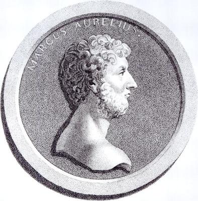 Portrait of Marcus Aurelius, from 'The History of the Decline and Fall of the Roman Empire', Vol 6 Page 81, by Edward Gibbon, 1808