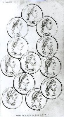 Portraits of Roman Emperors, from 'The History of the Decline and Fall of the Roman Empire', Vol I, by Edward Gibbon, 1808