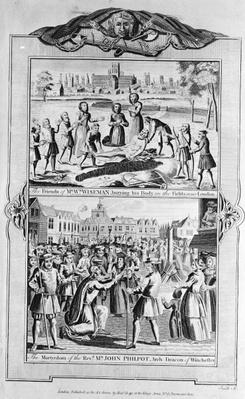 Mr Wiseman being buried and the martyrdom of John Philpot, from 'The New and Complete Book of Martyrs', by Paul Wright