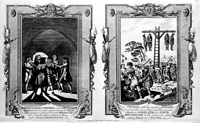 Sir Edmund Bury Godfrey being strangled and a woman being thrown into a river while men are being hanged