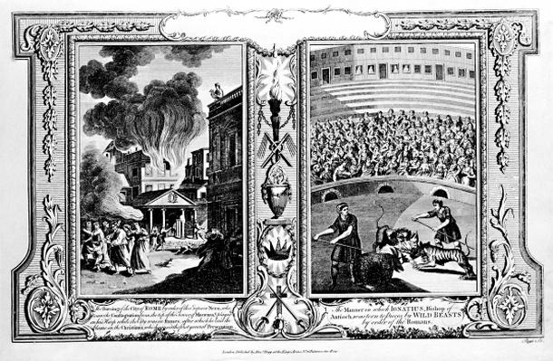 The Burning of the City of Rome and the Bishop of Antioch being killed by lions, from 'The New and Complete Book of Martyrs', by Paul Wright