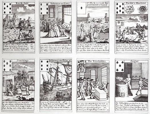 Set of Playing Cards depicting Satirical Scenes of Current Commercial Ventures and Investments, c.1720