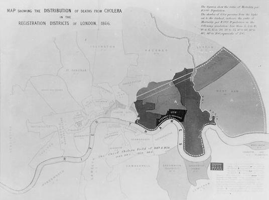 Map showing the Distribution of Deaths from Cholera in the Registration Districts of London, 1866