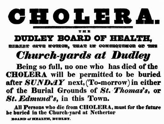 Dudley Board of Health poster announcing the burial procedure for people who have died of Cholera, c.1840's