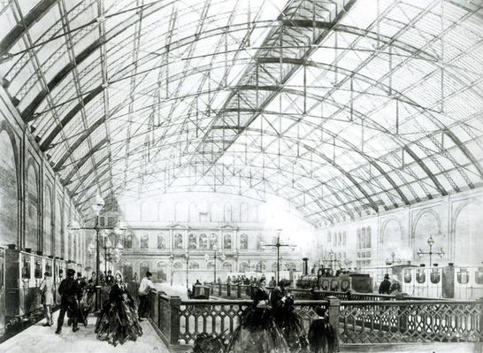 Interior of Charing Cross station, engraved by the Kell Brothers, c.1864