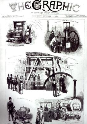Front Cover of 'The Graphic' showing important inventions, 3rd January 1880