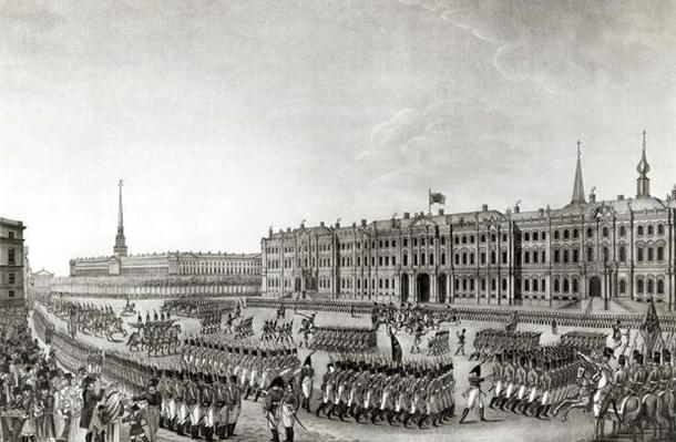 Parade in front of the Imperial Palace, St.Petersburg, 1812