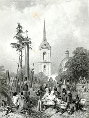 Cemetery of the Smolensko Church, engraved by E.Smith, 1845