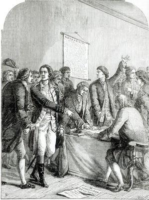 Signing the United States Declaration of Independence, engraved by J. Knight