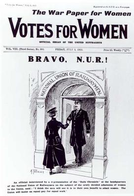 Bravo, N.U.R!, front cover of 'Votes for Women', July 2nd 1915
