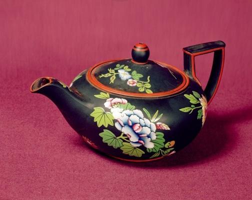 Black basalt Wedgwood teapot, enamelled with flowers, c.1840-50