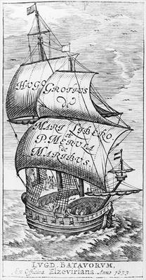 Frontispiece to 'De mari libero', by Hugo Grotius and Paulus van Merula 'de Maribus', 1633