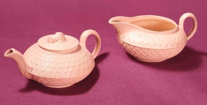 Wedgwood caneware teapot and milk jug, c.1860