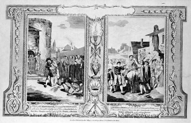 View of the Martyrdom of seventy Protestants, from 'The New and Complete Book of Martyrs', by Paul Wright