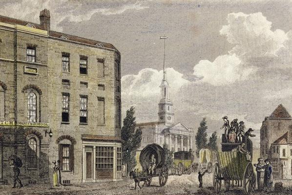 Entrance to London at Shoreditch Church, 1810