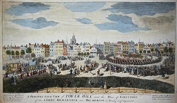 A Perspective View of Tower Hill and the Place of Execution of the Lords Kilmarnock and Balmerino, 1746