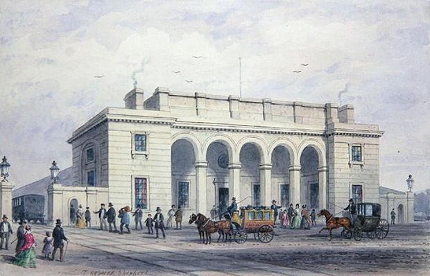 The South-Western Railway Station at Nine Elms Vauxhall, 1856