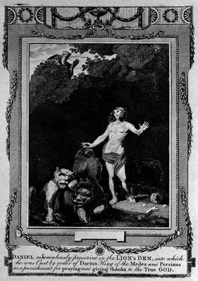 Daniel preserved in the Lion's den, from 'The New and Complete Book of Martyrs', by Paul Wright