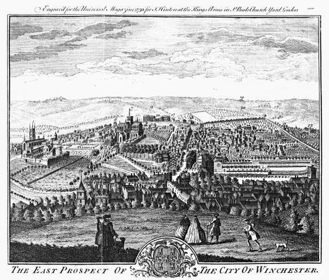 The East Prospect of the City of Winchester, from the 'Universal Magazine', 1750