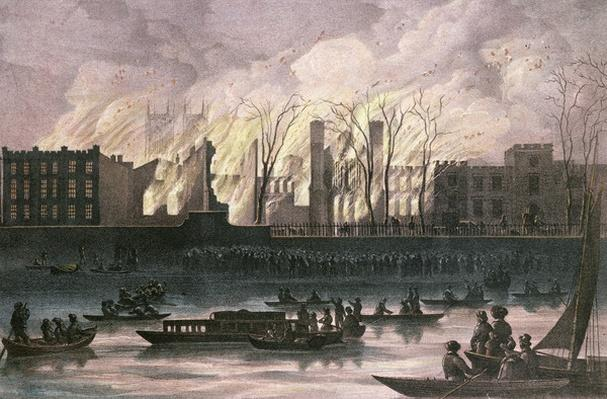 View of a fire at Whitehall Palace