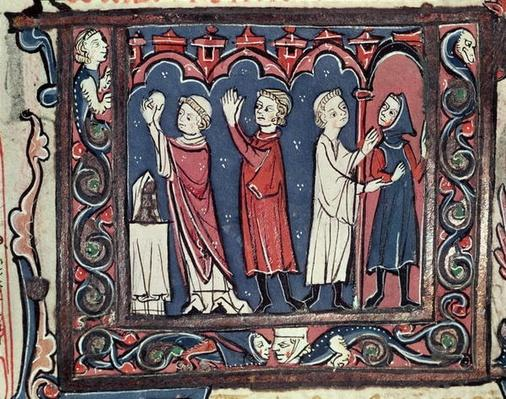 Ms 364 fol.111 Scene of excommunication, from 'Decretales' by Jean Andre, 13th-14th century