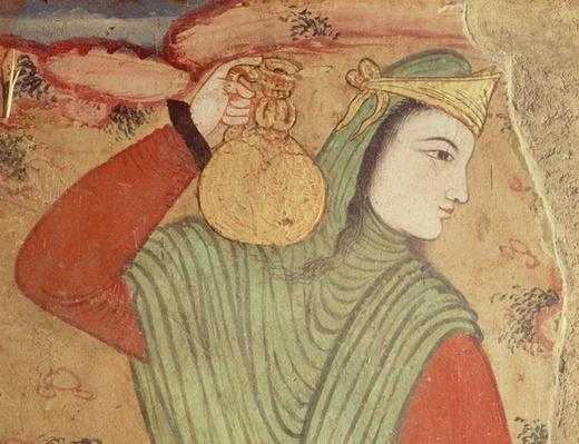 Man carrying wine from the Court of Shah Abbas I, 1585-1625