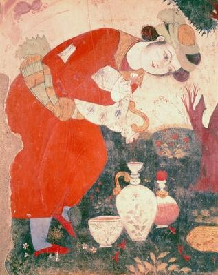 Woman pouring Wine in the Court of Shah Abbas I, 1585-1627