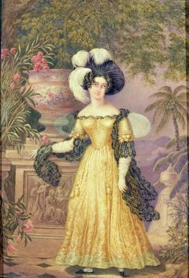Lady Rowe, standing small full length on a terrace, a moonlit Jamaican landscape beyond