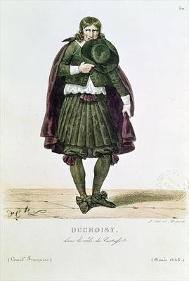 Ducroisy in the title role of Tartuffe in 1668, from 'Costumes de Theatre de 1600 a 1820' by L. Lecomte, engraved by Francois Seraphin Delpech