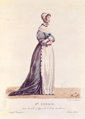 Madame Debrie in the role of Agnes in 'L'Ecole des Femmes' in 1680, from 'Costumes de Theatre de 1600 a 1820' by L. Lecomte, engraved by Francois Seraphin Delpech