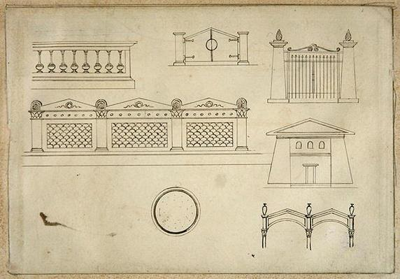 Designs for Gates, Walls, and Balustrade, from 'Twenty-one pen drawings of Decorative Details in Antique Style