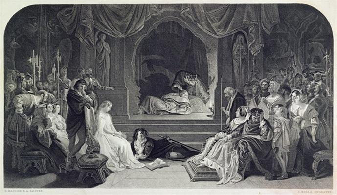 The Play Scene, Act III, Scene II of Hamlet by William Shakespeare, engraved by Charles Rolls