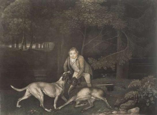 Freeman, Keeper to the Earl of Clarendon, with a hound and a wounded doe, 1804