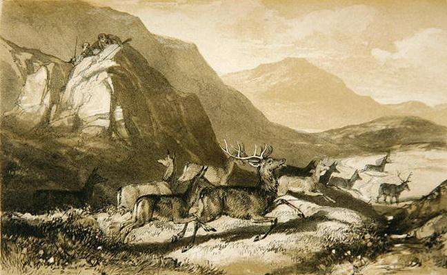 Shots from Cairn Cherie, from 'The Art of Deer Stalking: Illustrated by a Narrative...', 1839