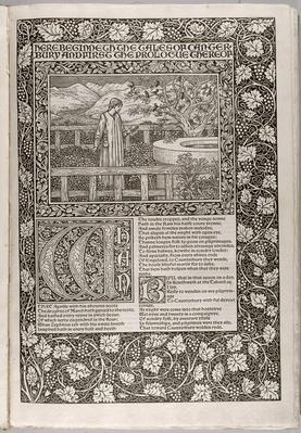 Frontispiece, from 'The Works of Geoffrey Chaucer now newly Imprinted', engraved by William Morris