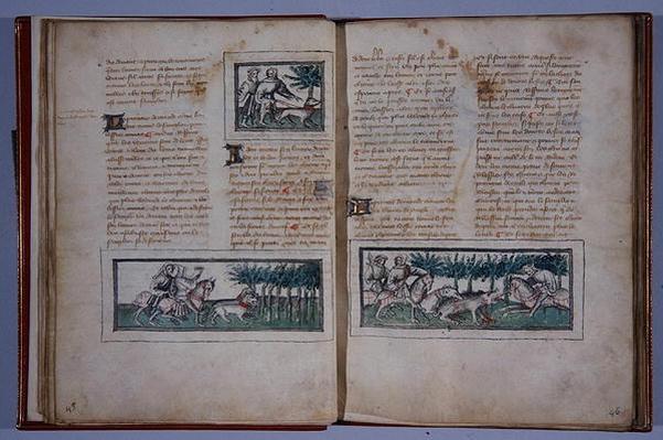 Pages 57 and 58, from 'Le Livre du Roy Modus et de la Royne Racio', by Henri de Ferrieres, c.1420