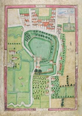 Hertford Castle and Castle Yard, from the 'Survey thereof taken by Symon Basyll Surveyor...', 1608