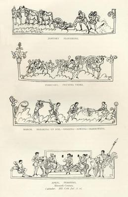 January, February, March and April, from 'The Julius Calendar and Hymnal', illustration from 'History of the English People'