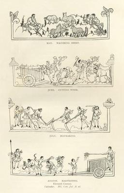 May, June, July and August, from 'The Julius Calendar and Hymnal', illustration from 'History of the English People'