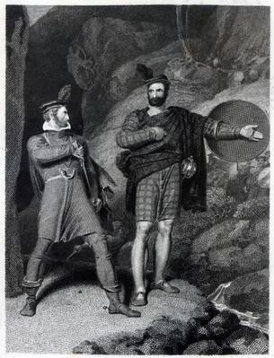 Roderick Dhu and a Clansman, 1810, from 'Lady of the Lake' by Walter Scott