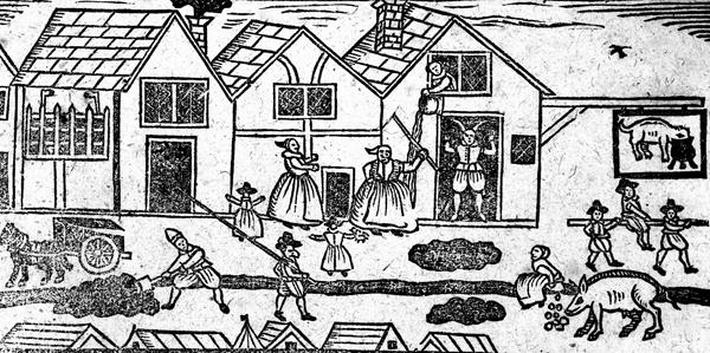 Elizabethan Street Scene, from 'A Book of Roxburghe Ballads'