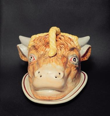 Staffordshire cheese dish in shape of a cow's head, c.1850
