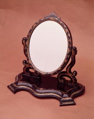 Gilt-painted papier-mache mirror, c.1890