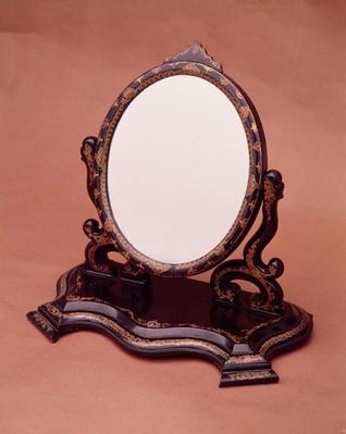 Gilt-painted papier-mache mirror, c.1890