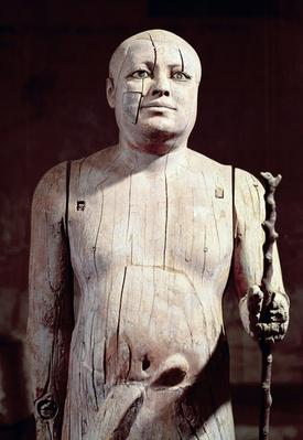 Statue of Ka-Aper, known as Sheikh el-Beled, from his mastaba tomb in North Saqqara, Old Kingdom