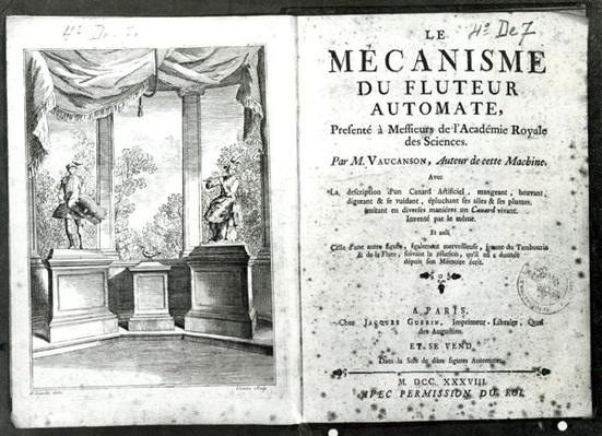 Automatons, illustration of the frontispiece from 'Le Mecanisme du fluteur automate' by Jacques de Vaucanson, engraved by Francois Vivares