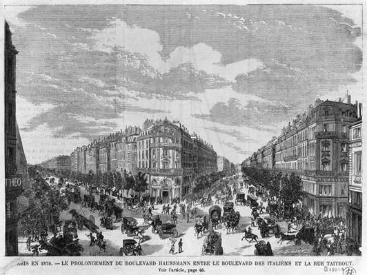 Paris in 1878, Boulevard Haussmann extended between Boulevard des Italiens and rue Taitbout, engraved by Louis Dumont